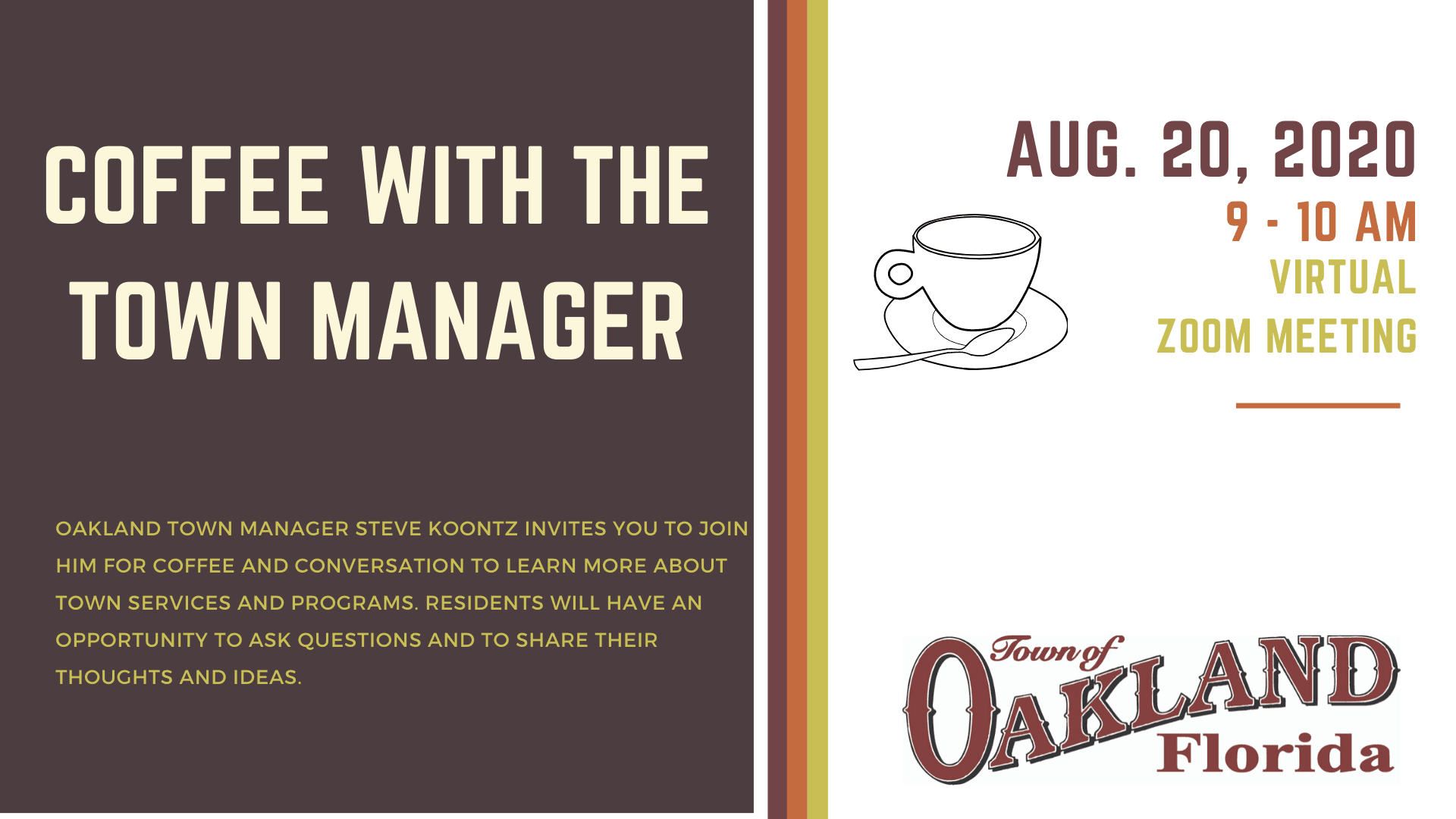 Coffee with the Town Manager - August 2020